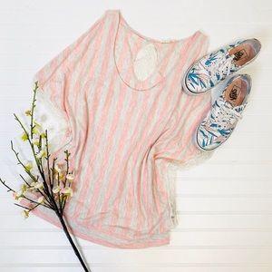 Hem & Thread Striped Lace Draped Tank Top